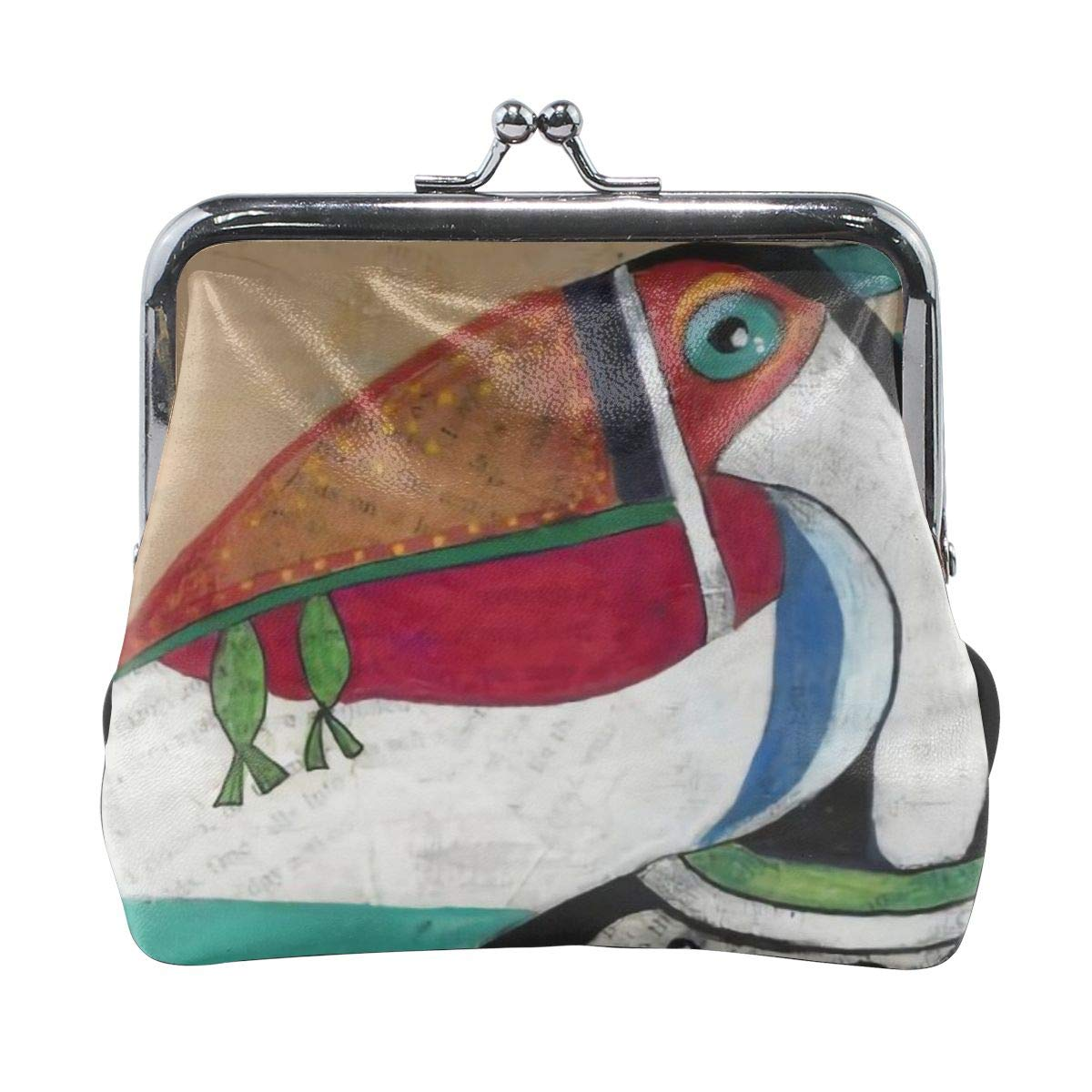 Pelican Eats Fish Sea Vintage Pouch Girl Kiss-lock Change Purse Wallets Buckle Leather Coin Purses Key Woman Printed