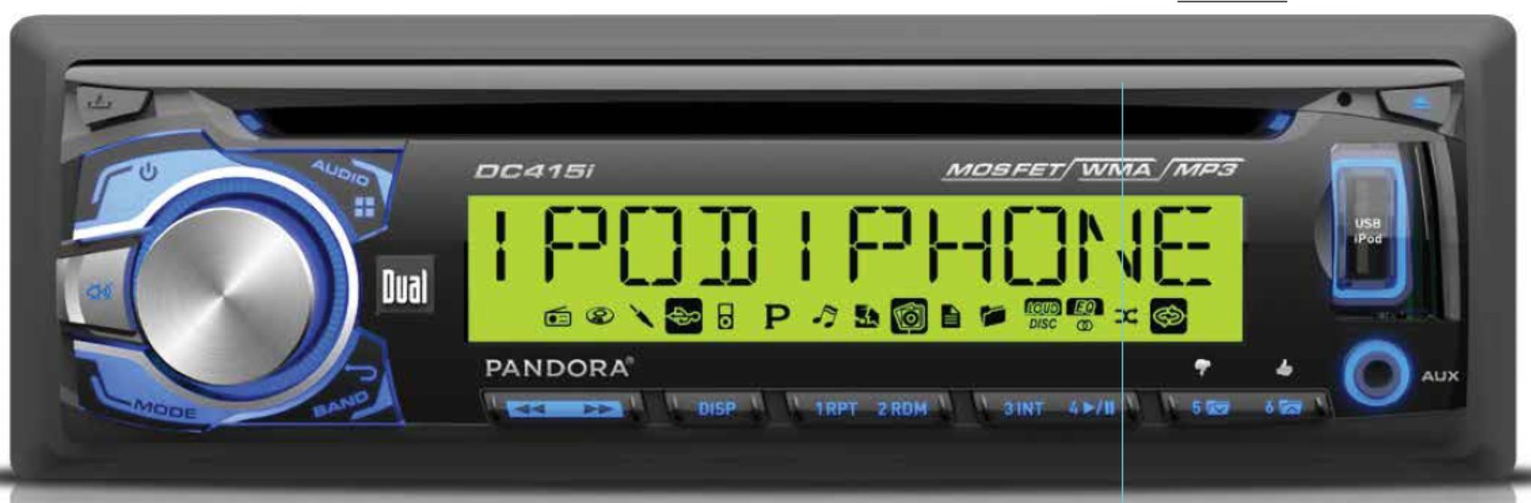 Dual Electronics DC415i Multimedia Detachable 3.7 inch 10 Character LCD Single DIN MOSFET Car Stereo with Built-in CD, USB & MP3 Player