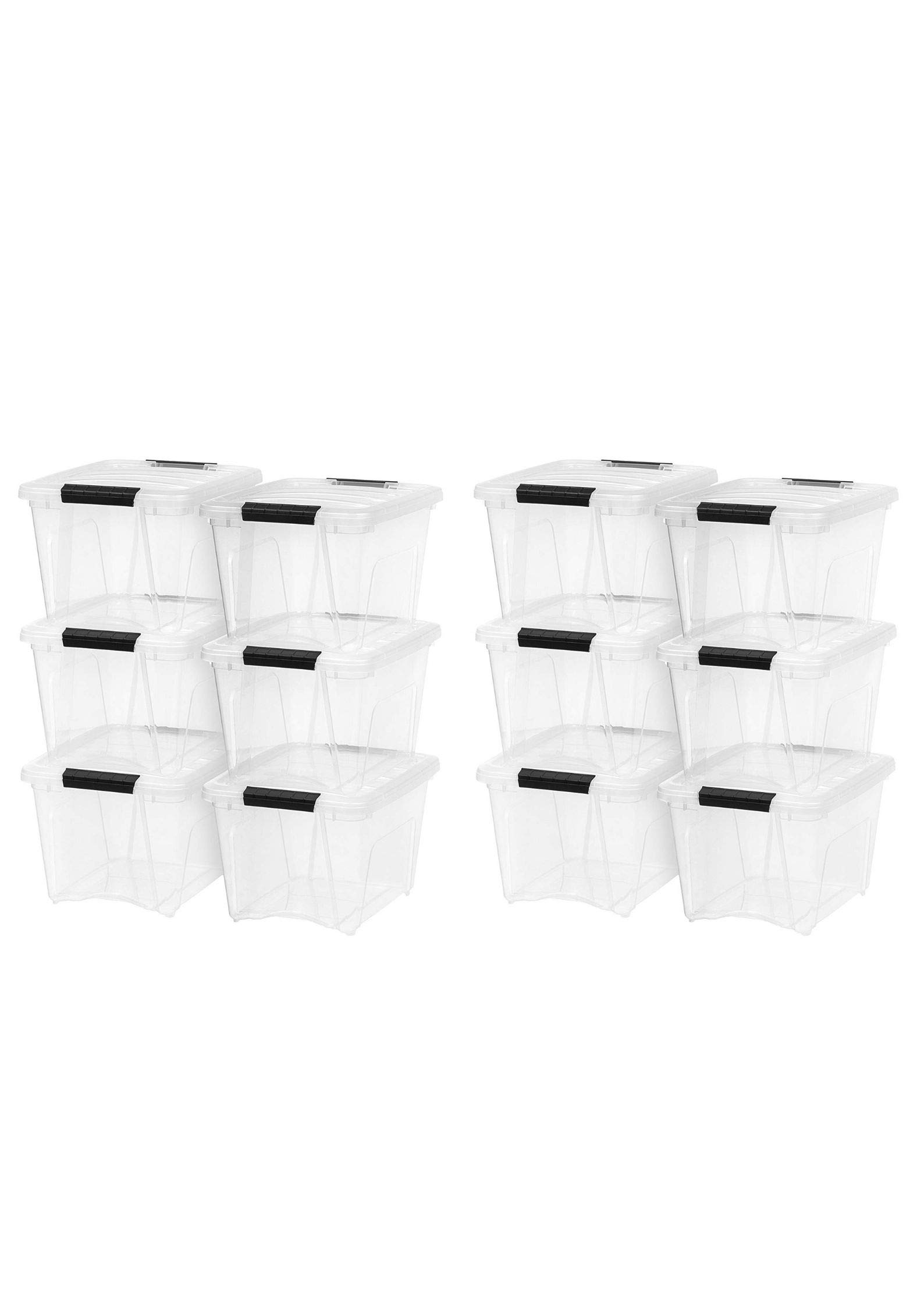 IRIS 19 Quart Stack & Pull Box, 6 Pack, Clear with Black Handles (12 Pack,19 Quart)