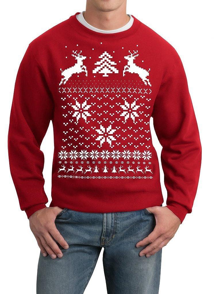 Skip N' Whistle Adult Ugly Christmas Sweater Reindeer In Snow Pullover Sweatshirt SOHU Show
