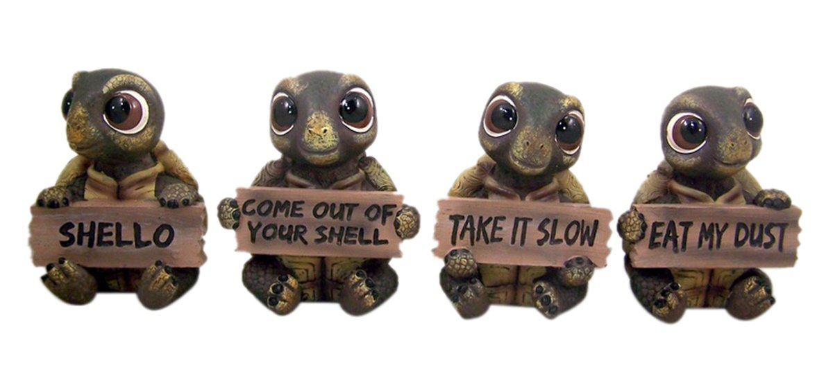 Set of 4 Turtle Home Decor Statues with Decorative Signs, 3 1/4 Inch