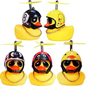 wonuu Rubber Duck Car Ornaments, 2Pcs Yellow Duck Car Dashboard Decorations Squeeze Duck Bicycle Horns with Propeller Helmet for Adults, Kids, Women, Men (5 Pack-Combination 1)
