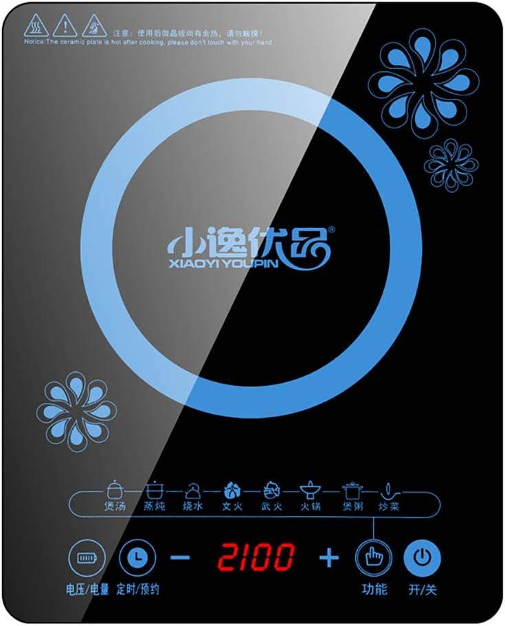 F-JX Placa Inducción Kits, Doble Cocina De Inducción con Ultra-Delgado Cuerpo, 8 Niveles De Temperatura, Niveles De Potencia Múltiples, 2200W, 3 Horas De Reloj, Llave De Seguridad,B