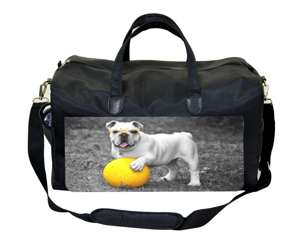 Black and White Pug Playing Ball Weekender Bag