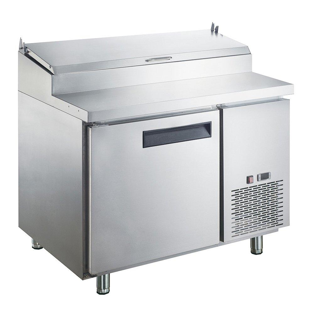 Dukers Appliance USA DUK600162378056 Sandwich Pizza Prep Table Refrigerator, 1 Door, 44'' width x 31'' Depth x 41'' Height, Silver, Stainless steel