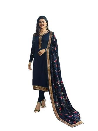 97de41064d ziya Women's Ethnic Indian Pakistani Straight Salwar Kameez Vinay (Blue, ...