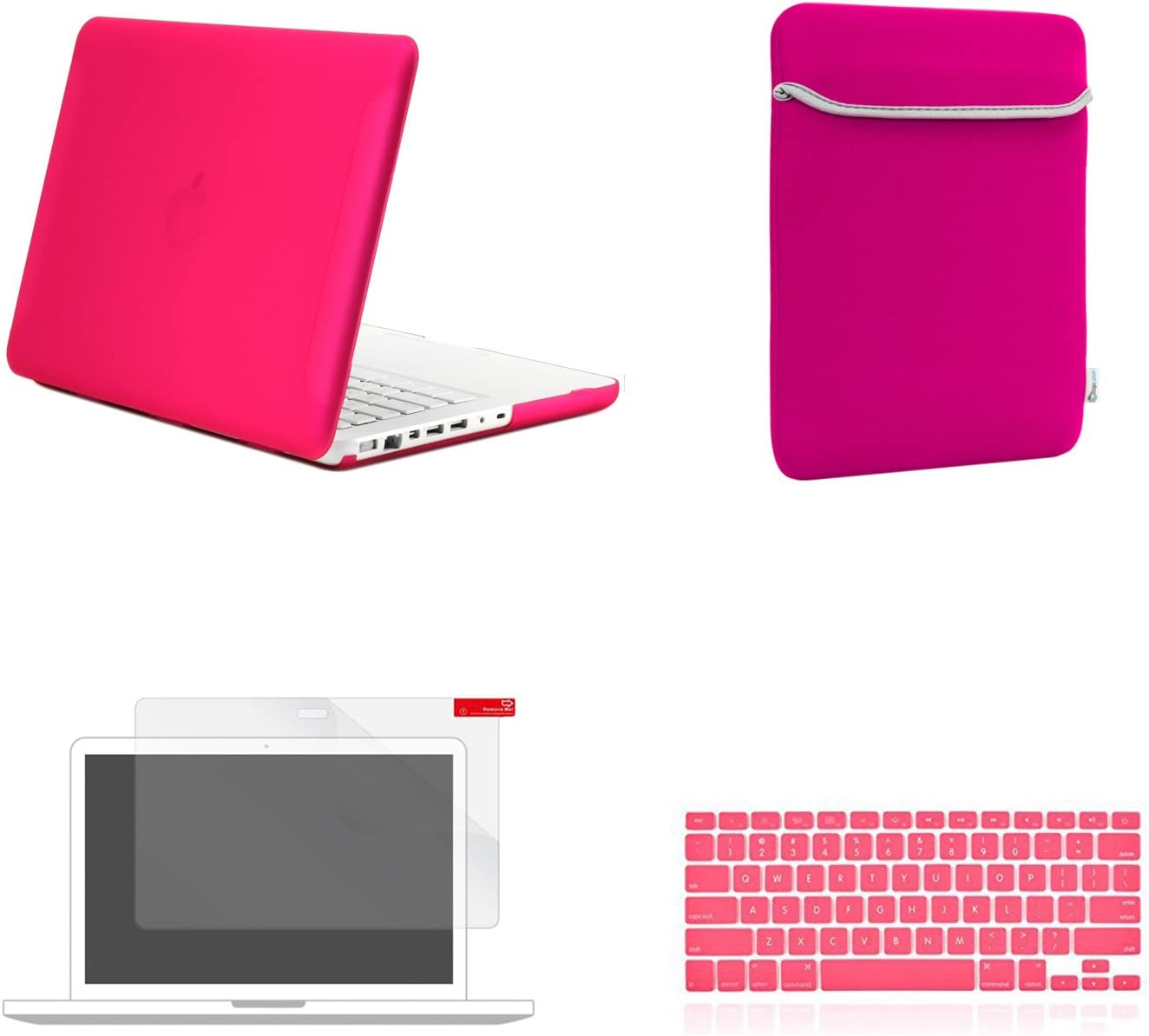 TOP CASE - 4 in 1 Essential Bundle Rubberized Hard Case + Sleeve Bag + Silicone Keyboard Cover + Screen Protector Compatible MacBook White 13