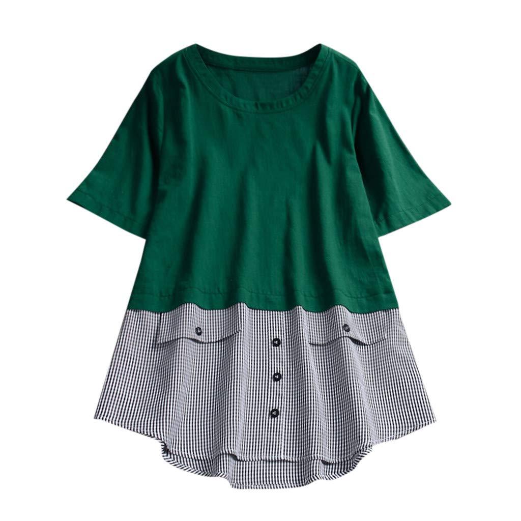 MRULIC Damen Frauen Sommer Casual Kurzarm Lose T-Shirt Baumwolle Leinen Bluse Tops Geschenk zum Muttertag