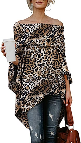 Women Leopard Print One Shoulder Blouse Shirt Ladies Casual Long Sleeve Pullover