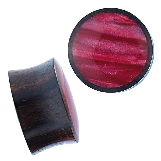 Dilatador Chic-Net de madera de sono, color rojo magenta brillante, con incrustación de resina, tallado a mano, estilo tribal, túnel expansor, ...