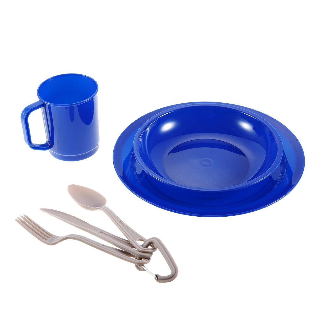 Lixadaアウトドア6ピーステーブルウェアセットfor 1-person食器カトラリープレートボウルマグフォークスプーンカッター、キャンプバックパッキング B07CN7Y25X