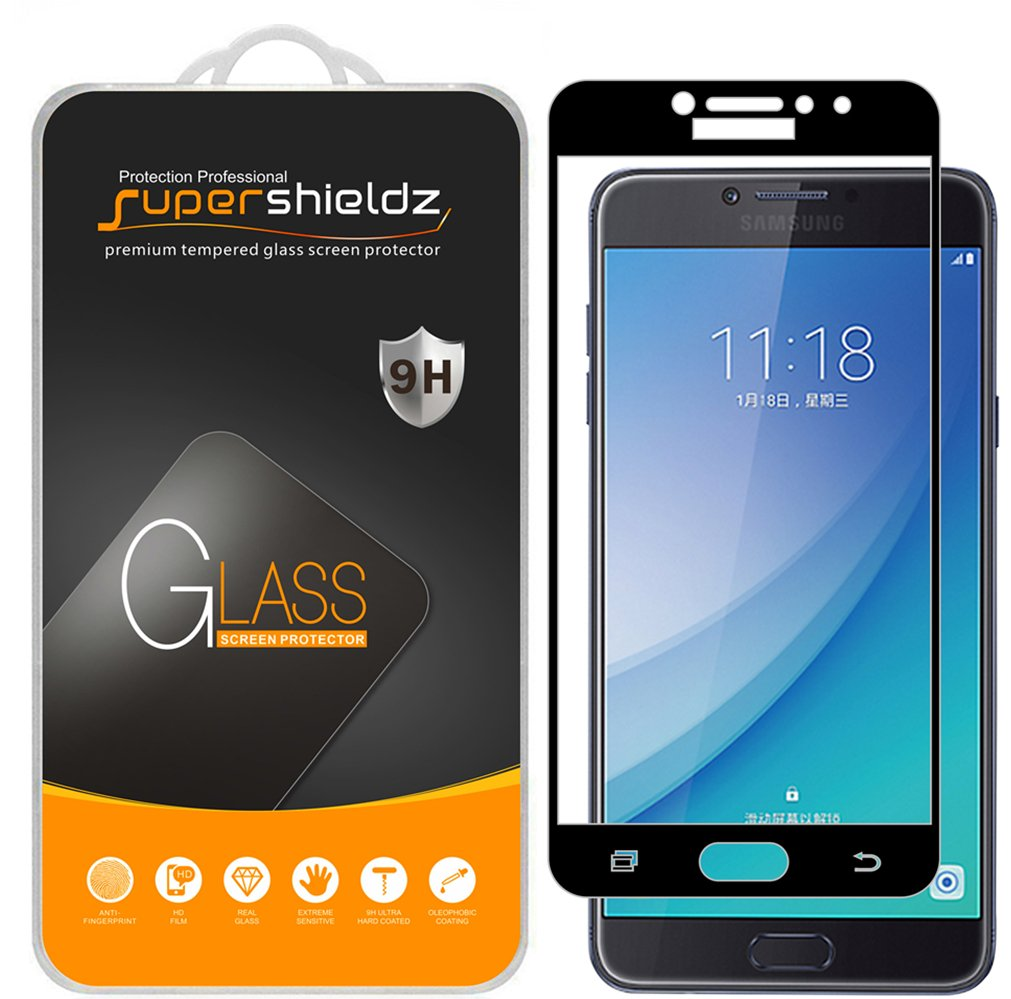 2 Pack Supershieldz For Samsung Galaxy C7 Pro Tempered Glass Full Color J3 Cover Screen Protector Coverage Anti Scratch Bubble Free