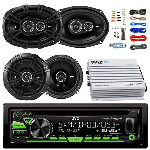 "JVC KDR680S Car Radio USB AUX CD Player Receiver - Bundle Kit With 2 Kicker DSC69304 6x9"" Coaxial 3-Way Car Speaker + 2x DSC654 6.5"" 2-Way Speaker + 4-Channel Amplifier + Amp Kit"