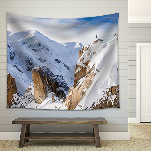 Snow Covered Mountains in Winter Adventure Concept Fabric Wall