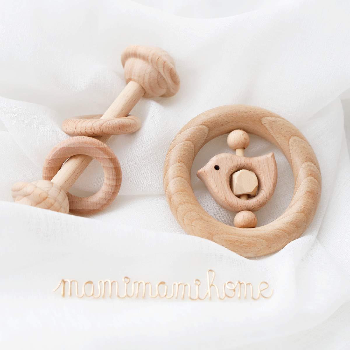 Mamimami Home 5PC Baby Holz Bei/ßring Spielzeug Buchenholz Tier Elefant Vogel Ringe Sensorische Aktivit/ät Neugeborenen Kinderkrankheiten Rassel Spielhalle Rassel Baby Gym Montessori Spielzeug
