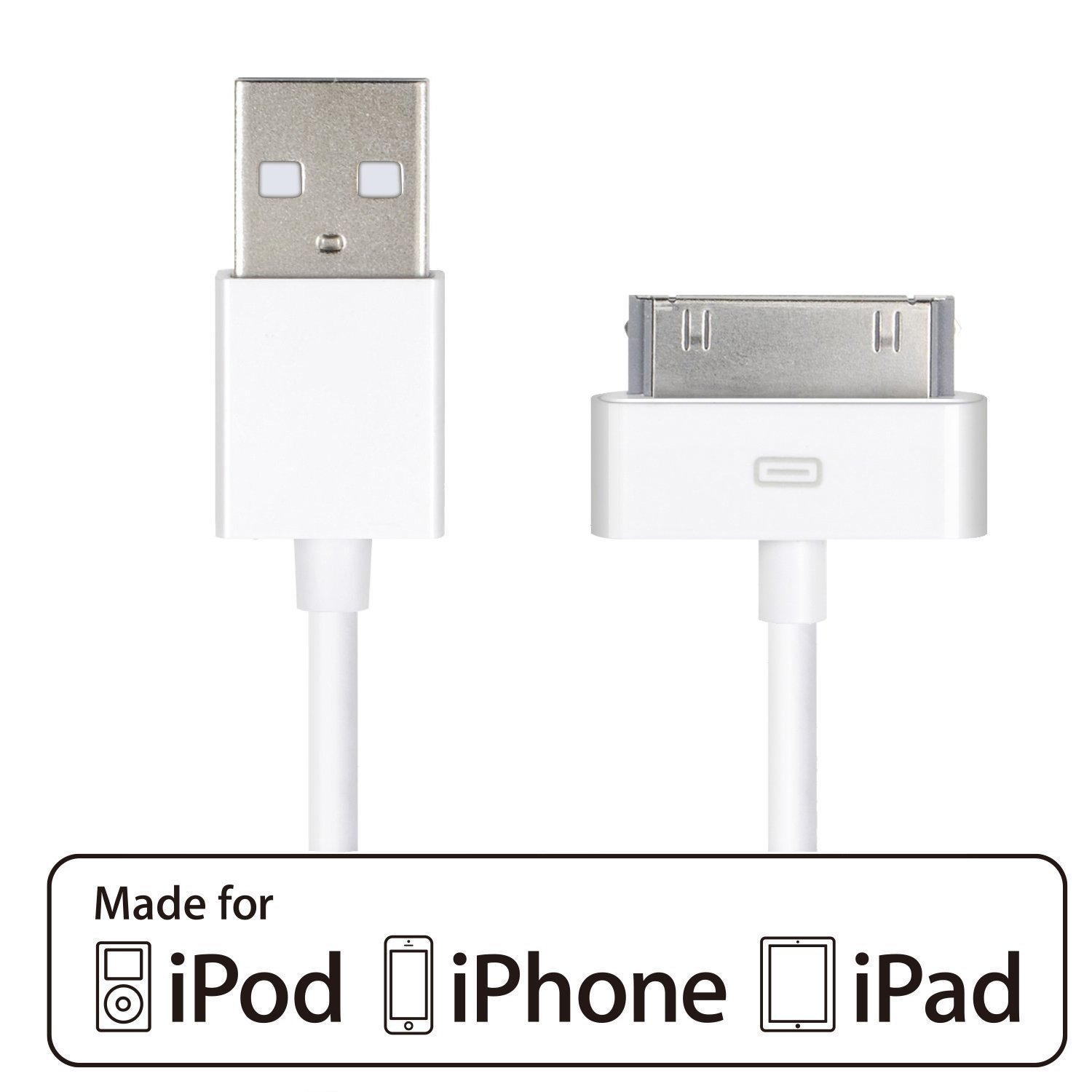 HQTech 1-Pack USB Sync and Charging Cable Compatible for iPhone 4/4s, iPhone 3G/3GS, iPad 1/2/3, iPod - 3.2 Feet 1 Meter - 6240 HQTech Corp