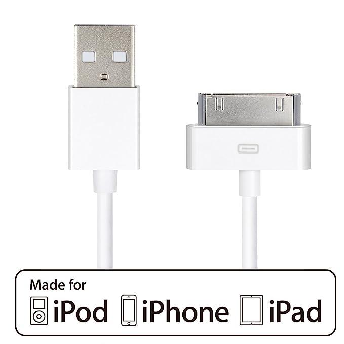 iPhone 4s Cable,HQTech Cable de Datos de USB Cable de Carga Cargador Cable para iPhone 4/4s, iPhone 3G/3GS, iPad 1/2/3, iPod (Blanco)-6240
