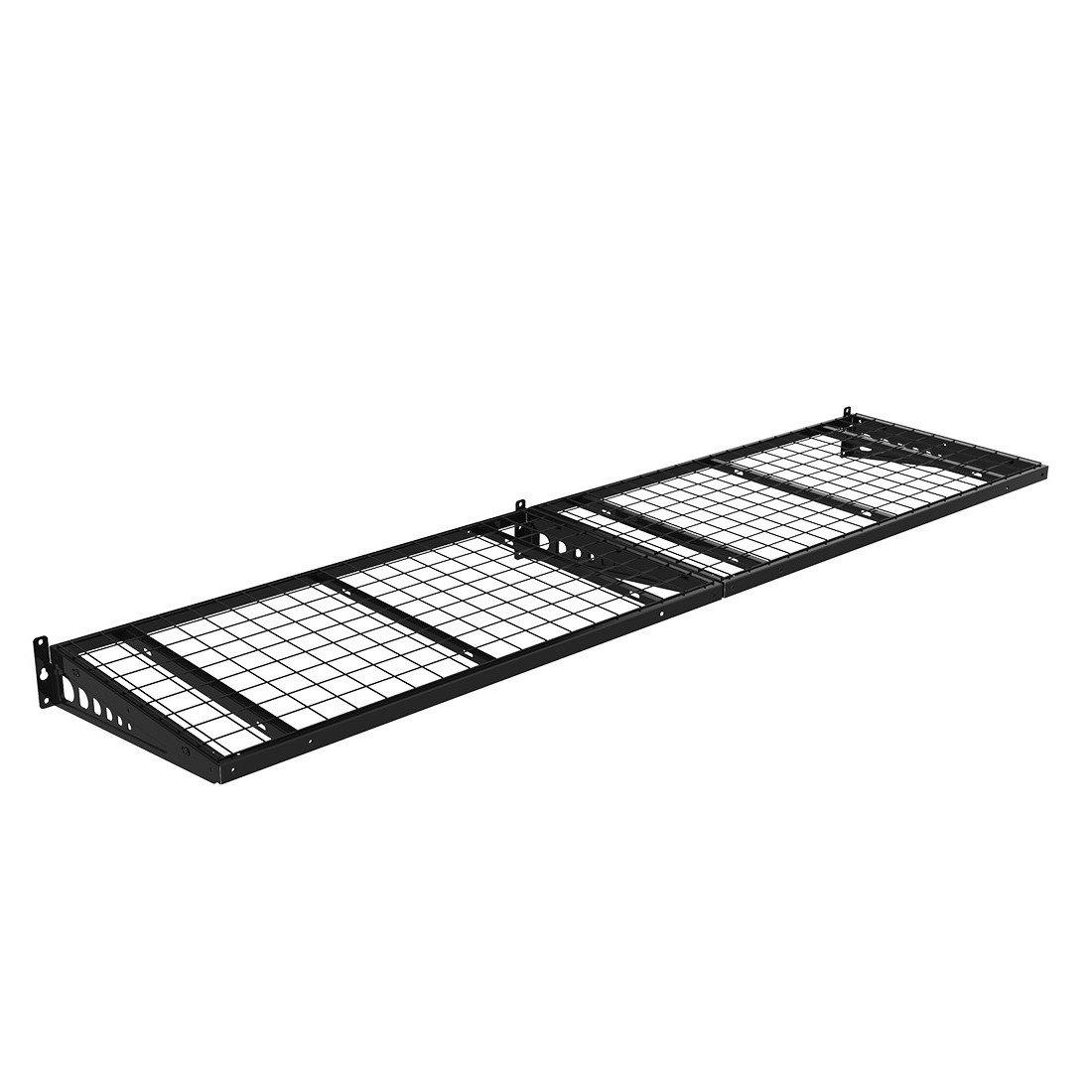 FLEXIMOUNTS 2x4ft 24-inch-by-48-inch Corner Wall Shelf Garage Storage Rack Floating Shelves, Black WRC24B