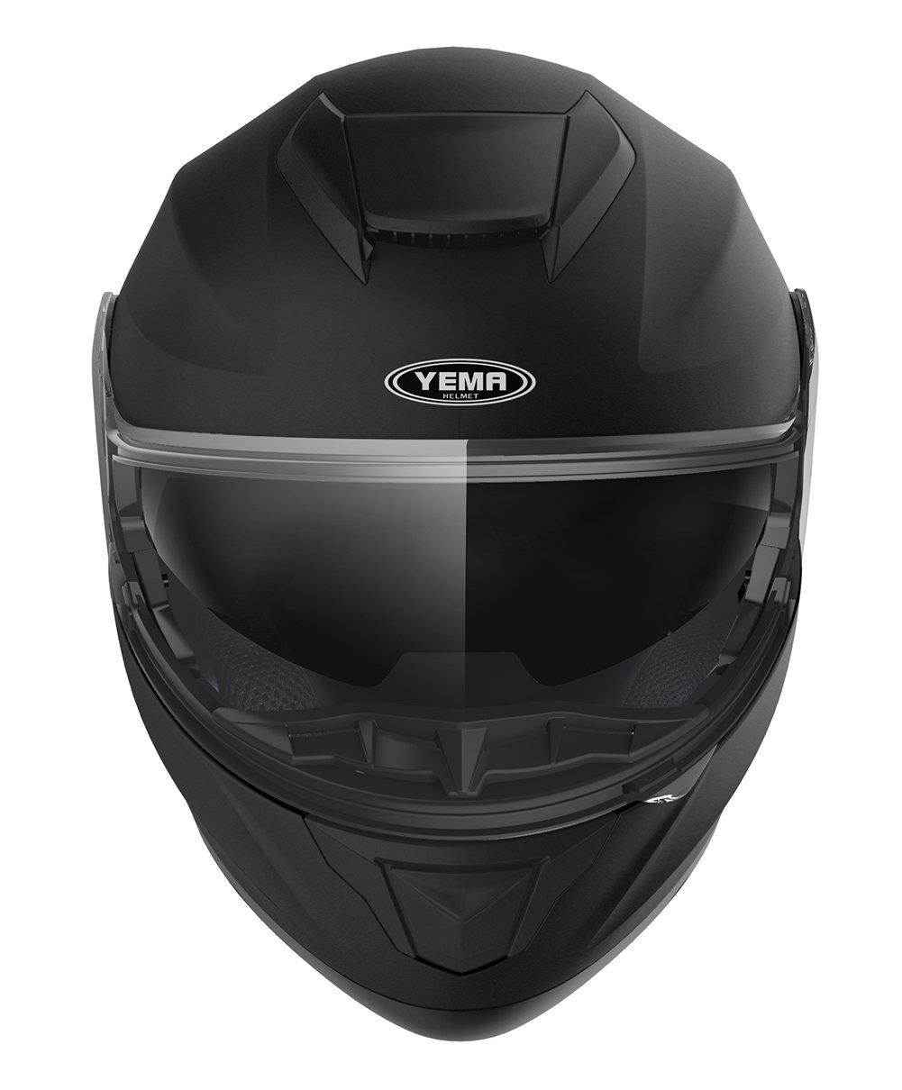 Yema YM-926 Rollerhelm Sturzhelm mit Doppelvisier Sonnenblende ECE f/ür Damen Herren Erwachsene-Schwarz Matt-M Motorradhelm Klapphelm Integralhelm Fullface Helm
