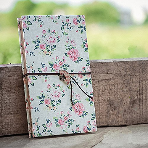 Duolaisu DIY Handmade Cloth Hardcover Kraft Paper Retro Accordion Style Photo Album 8.5x4.5Inch, Holds 4 x 6Inch Photos,One Self-adhesive Photo ()