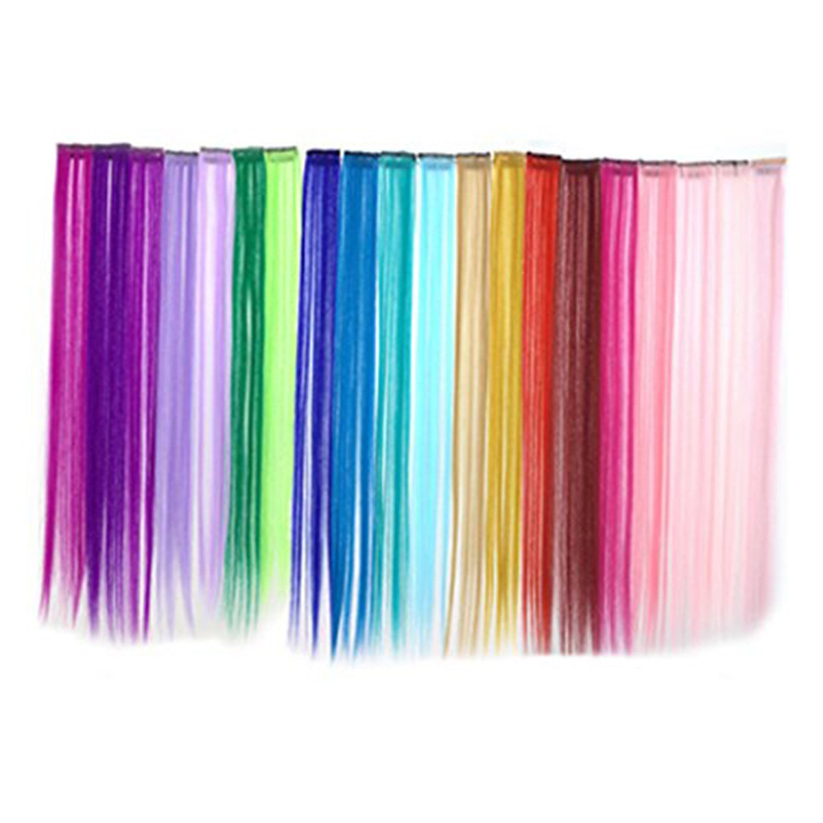 OKOK Bundle 24 Pieces Of 20 inches Multi-Colors Party Highlights colorful Clip In Synthetic Hair Extensions,Straight Long Hairpiece by OKOK