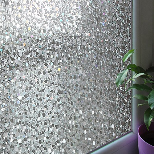 Leyden 2 Roll 24-by-72-Inch Cut Glass Cobble Pattern No-Glue 3D Static Decorative Glass Window Films Multi Leyden Fashion Home