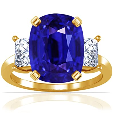 d2dbc150bcc1c9 Image Unavailable. Image not available for. Color: 14K Yellow Gold Cushion  Cut Blue Sapphire Three Stone Ring ...