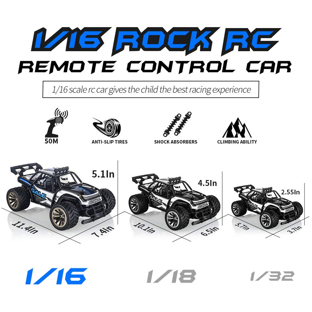 RC Cars KOOWHEEL 1:16 Scale 2WD Off Road Remote Control Cars with 2 Rechargeable Battery 2.4GHz Radio Remote Control Truck Monster High Speed Crawler USB Charger RC Car for Adults and Kids(Blue) by KOOWHEEL (Image #4)