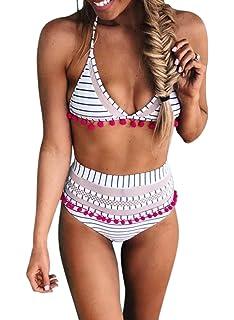 b12da1f424 Bdcoco Women s High Waist Two Pieces Bikini Set Padded Stripe Tassel  Swimsuit