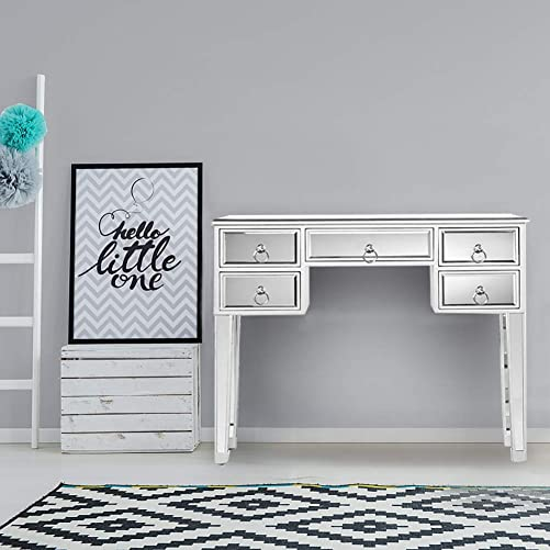 Henf Mirrored Makeup Vanity Table Desk,Mirrored Console Table, 5 Drawers Media Console Table for Women Home Office Writing Desk Smooth Finish