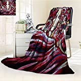 Microfiber Fleece Comfy All Season Super Soft Cozy Blanket beautiful face of the girl in grapevines and leaves against a fabric fluttering for Bed Couch and Gift Blankets(90''x 70'')