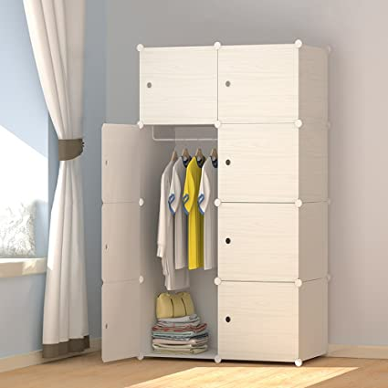 JOISCOPE MEGAFUTURE Wood Pattern Portable Wardrobe Closet For Hanging  Clothes, Combination Armoire, Modular Cabinet