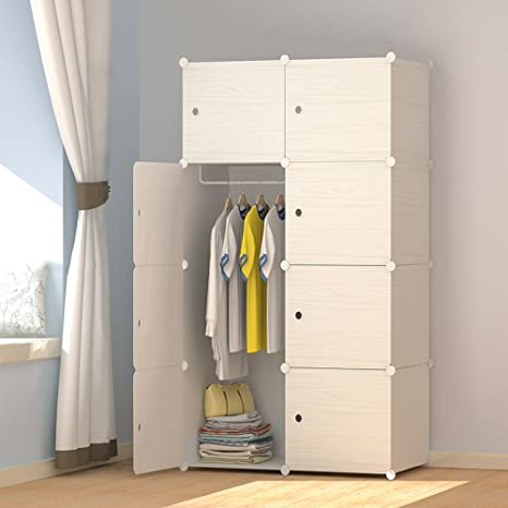 Megafuture Wood Pattern Portable Wardrobe Closet For Hanging Clothes Combination Armoire Modular Cabinet For Space Saving Ideal Storage Organizer