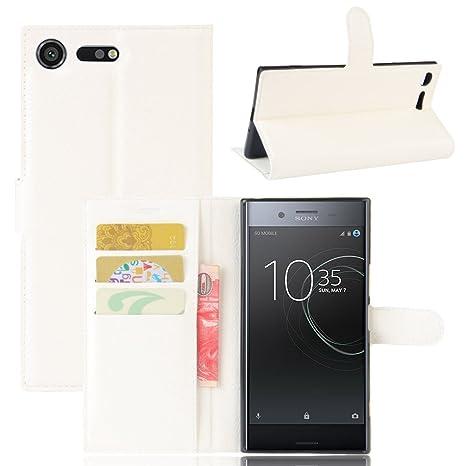 Guran® Funda de Cuero PU Para Sony Xperia XZ Premium Smartphone Función de Soporte con Ranura para Tarjetas Flip Case Cover Caso-blanco