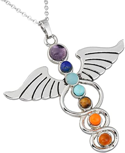 7 Chakra Heart Pendant Necklace Silver Plated Charms Healing Spiritual Gemstones