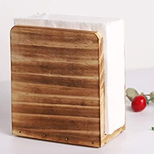 Napkin Holder for Kitchen Table and Countertops, Farmhouse Rustic Décor Paper Towel Dispenser for Dinner Table