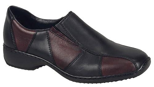 Rieker - Mocasines de Piel para mujer Multicolor Black/Burgundy: Amazon.es: Zapatos y complementos
