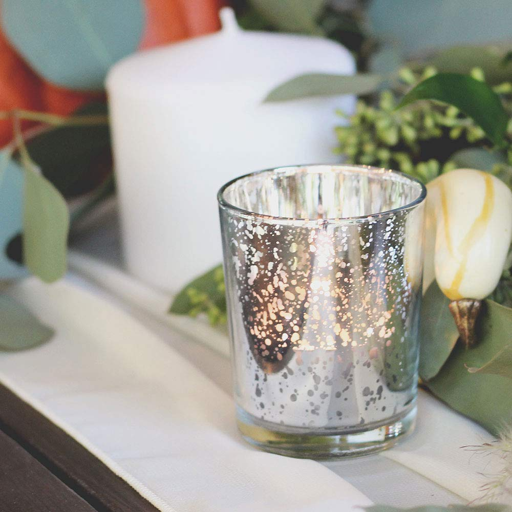 Just Artifacts Mercury Glass Votive Candle Holder 2.75'' H (25pcs, Speckled Silver) -Mercury Glass Votive Tealight Candle Holders for Weddings, Parties and Home Décor