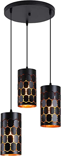 Modern Industrial Kitchen Island Lighting with Cylindrical Metal Cage, 3-Light Round Base Multi Pendant Light Fixture for Dining Room Living Room Farmhouse, Gold Inner and Black