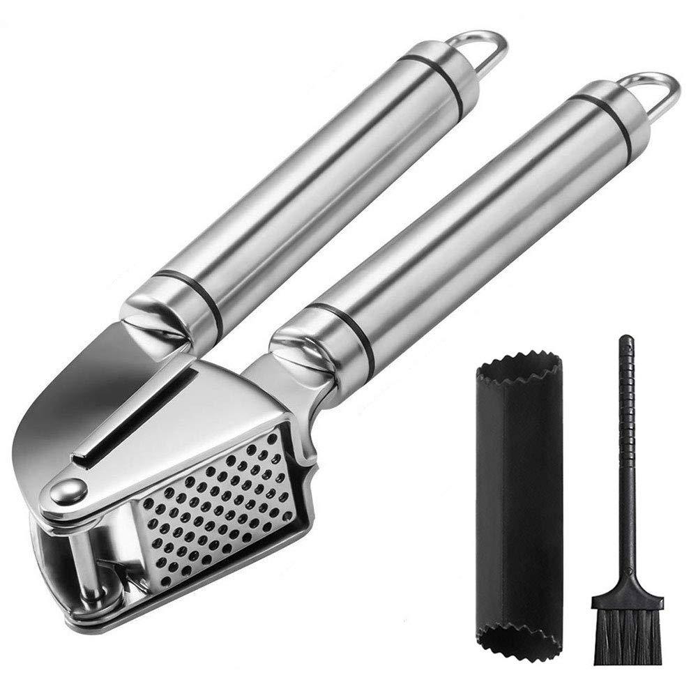 Angker - Prensador de ajos, acero inoxidable, con cepillo y ...