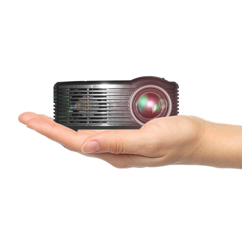 Proyector de video port/átil, proyector multimedia de cine en casa 1920X1080 para lograr su pel/ícula en su fiesta familiar Jiayuane Hanbaili US Plug + Black