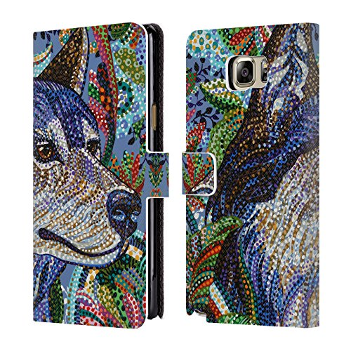 Official Erika Pochybova Wolf Animals Leather Book Wallet Case Cover For Samsung Galaxy Note5 / Note - Erika 5