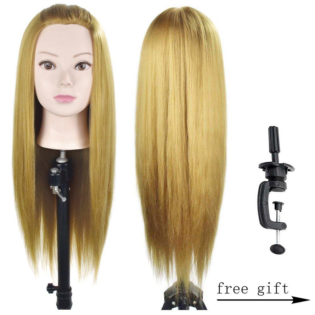 26cm de largo pelo sintético Yaki maniquí de formación cabeza modelo con la abrazadera de mesa soporte Ba Sha