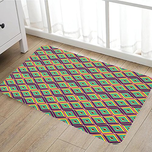 (Colorful door mat outside Rhombus Composition with Bullseye Pattern Geometric Arrangement Angled Stripes Bathroom Mat for tub Non Slip16