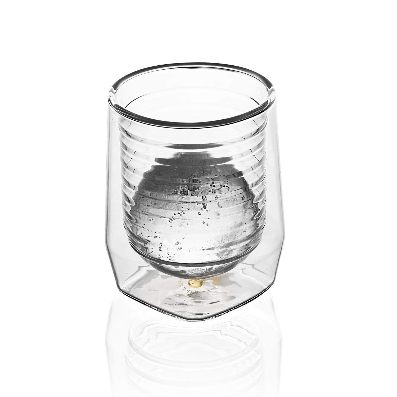 Aged & Ore - The Duo Glass | Hand Blown Double Walled Whiskey Glass Gift Set with Free Silicone Ice Molds | Integrated Measuring Lines for the Perfect Cocktail | Durable Modern Tumbler | Set of 4 by Aged & Ore (Image #6)