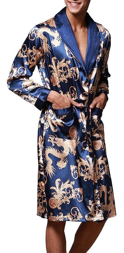 FLYCHEN Men s Shawl Collar Kimono Robe Satin Floral Bath Sleepwear at  Amazon Men s Clothing store  f9bdcea8f