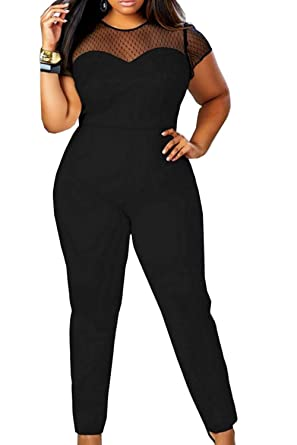 Suvotimo Women Plus Size Jumpsuits Mesh Patchwork Party Rompers