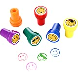 Stamps for Kids, LUCKYBIRD Best Self Inking Plastic Goofy Smile Silly Face Stampss Set, 6 Count