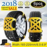 Besteamer 【New 2018 Version 】 Snow Chains Car Anti Slip Tire Chains Adjustable Anti-Skid Chains Car Tire Snow Chains Fits for Most Car/SUV/Truck-Set of 6 Width 165-265mm/6.5-10.4''