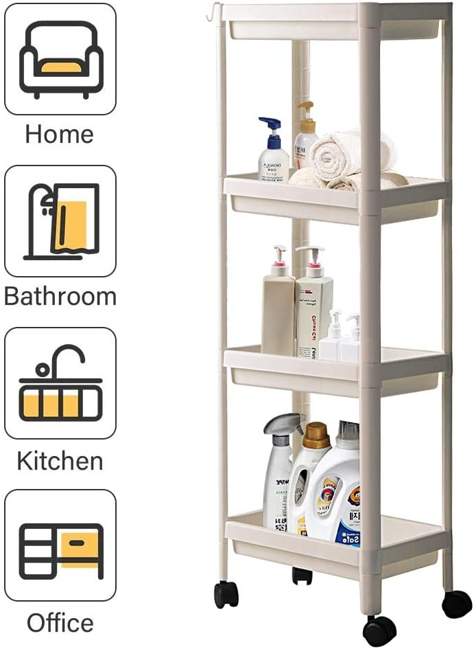 TCHANHOME Rolling Utility Shelf Organizer Multi-Purpose 4 Tier Storage Cart Tower Rack with Wheels for Home Kitchen Pantry Bathroom Laundry Room 14.4 X 9 X 39.4